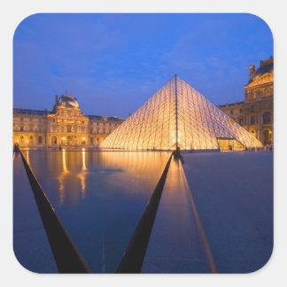 France, Paris. The Louvre museum at twilight. Square Sticker