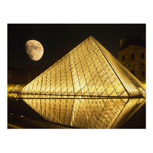 France, Paris, The Louvre Museum, Nighttime Post Card