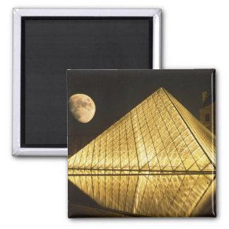 France, Paris, The Louvre Museum, Nighttime Square Magnet