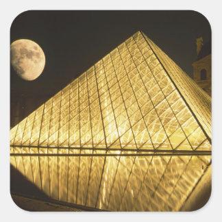 France, Paris, The Louvre Museum, Nighttime Square Sticker
