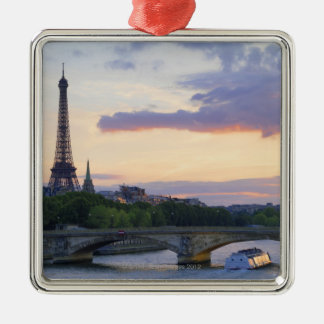 France,Paris,tour boat on River Seine,Eiffel Christmas Ornament