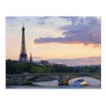 France,Paris,tour boat on River Seine,Eiffel Postcard