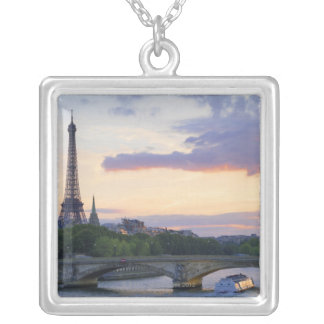 France,Paris,tour boat on River Seine,Eiffel Silver Plated Necklace