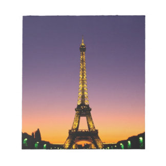 France, Paris, Tour Eiffel at sunset. Notepad