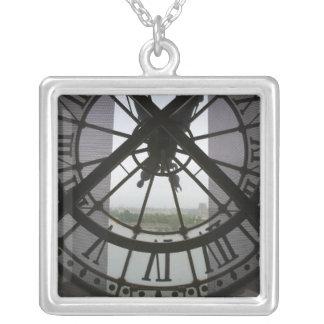 France, Paris. View across Seine River through Silver Plated Necklace