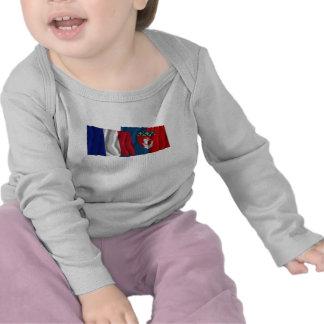 France & Paris waving flags Tees