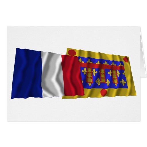 France & Pas-de-Calais waving flags Greeting Card