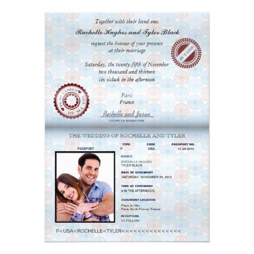 France Passport (rendered-no glare) Wedding Personalized Invite