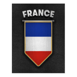 France Pennant with high quality leather look Postcard