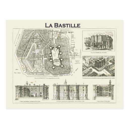 France,  Plan and images of the Bastille Postcard