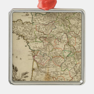 France Postal Roads Silver-Colored Square Decoration