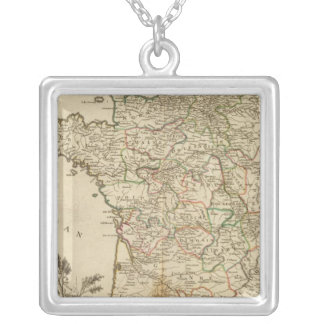 France Postal Roads Silver Plated Necklace