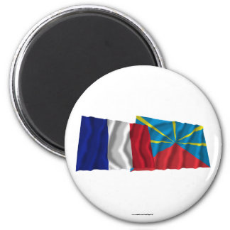 France & proposed Réunion waving flags Fridge Magnets