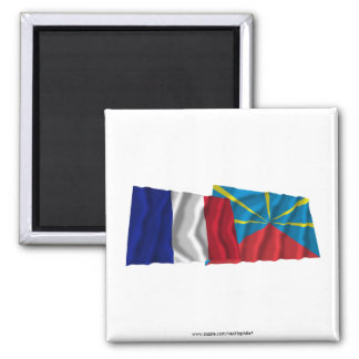 France & proposed Réunion waving flags Square Magnet