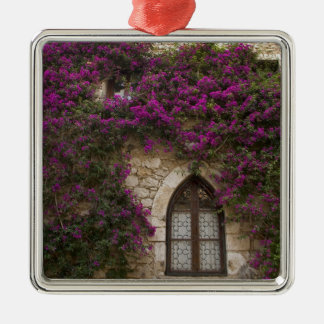 France, Provence, Eze. Bright pink Silver-Colored Square Decoration
