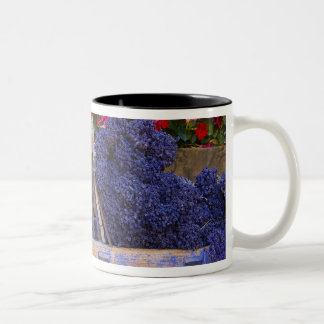 France, Provence, Sault. Old wooden cart with Two-Tone Coffee Mug