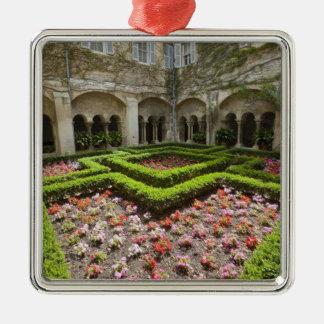 France, Provence, St. Remy-de-Provence. Garden Silver-Colored Square Decoration