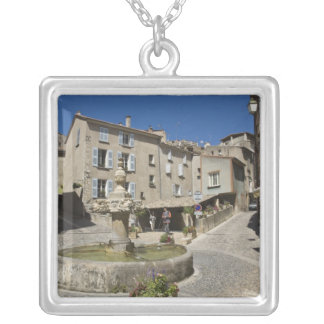 France, Provence, Valensole. Tourists explore Silver Plated Necklace