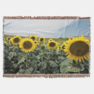 France Provence, View of sunflowers field Throw Blanket