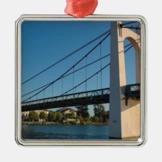 France, Rhone-Alps, Condrieu, bridge across 2 Silver-Colored Square Decoration