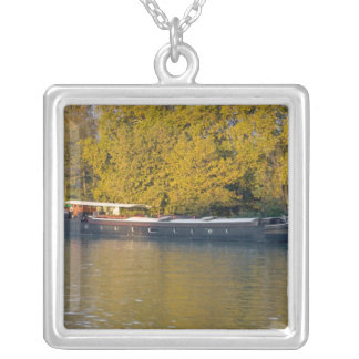 France, Rhone River, near Avignon, barge along Silver Plated Necklace