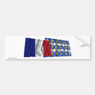 France & Seine-et-Marne waving flags Bumper Sticker