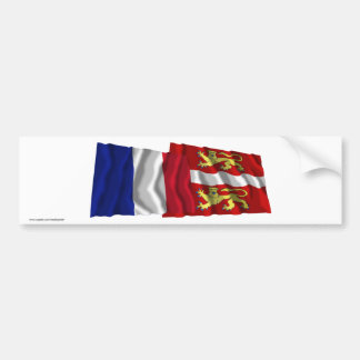 France & Seine-Maritime waving flags Bumper Stickers