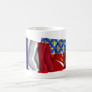 France & Seine-Saint-Denis waving flags Basic White Mug