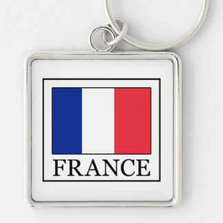France Silver-Colored Square Key Ring