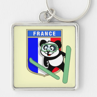 France Ski-jumping Panda Silver-Colored Square Key Ring