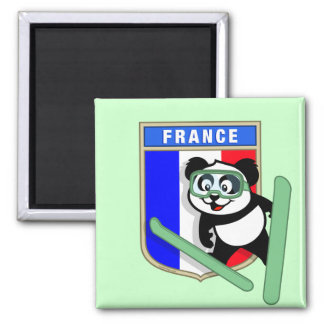 France Ski-jumping Panda Square Magnet