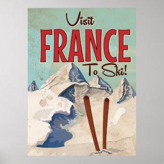 France Skiing Vintage travel poster