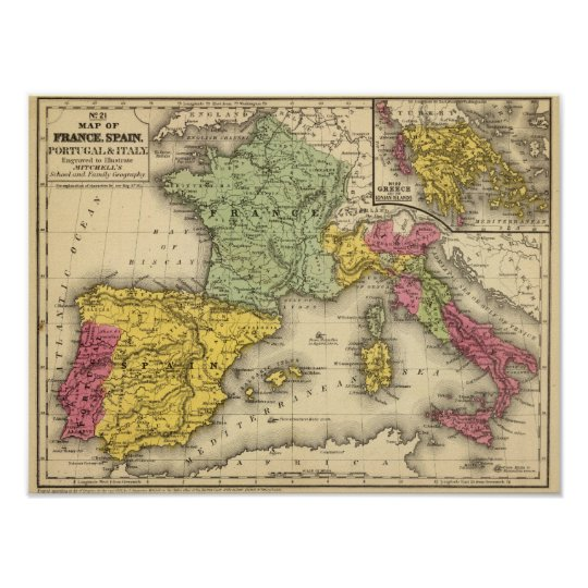 Map Of Spain Portugal And France.France Spain Portugal Italy Poster