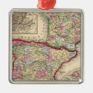 France, Spain, Portugal Map by Mitchell Christmas Ornament