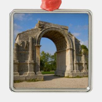 France, St. Remy de Provence, Triumphal Arch Silver-Colored Square Decoration