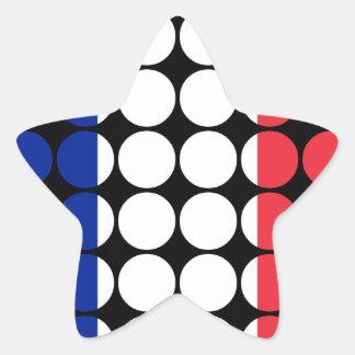 France Stylish Girly Chic : Polka Dot French Flag Star Sticker