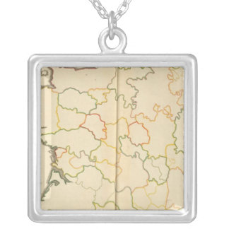 France Subdivisions Outline Silver Plated Necklace