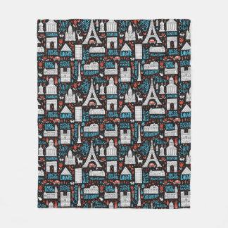 France   Symbols Pattern Fleece Blanket