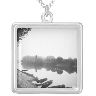 FRANCE, Touraine, The Loire: CHINON Boats along Silver Plated Necklace