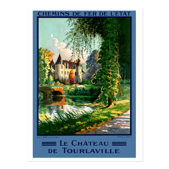 France Tourlaville Restored Vintage Travel Poster Postcard