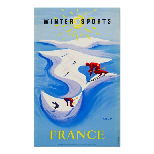 France Travel Poster  Winter Sports