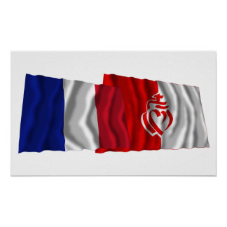France & Vendée waving flags Poster