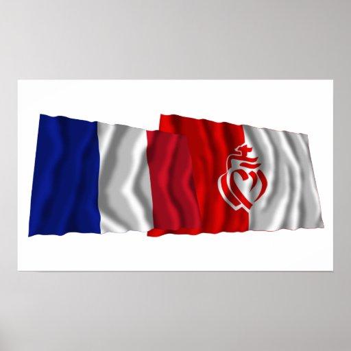 France & Vendée waving flags Posters