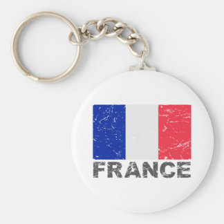 France Vintage Flag Basic Round Button Key Ring