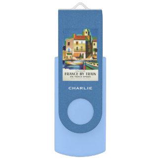 FRANCE Vintage Travel custom monogram USB drive