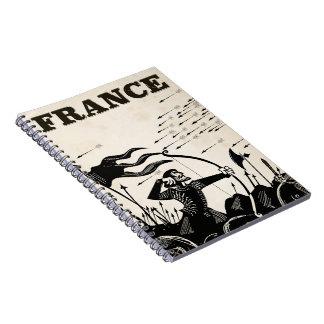 France vintage travel poster. classic medieval car notebook
