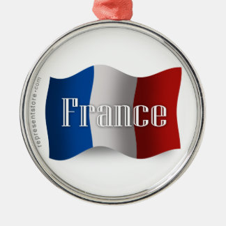 France Waving Flag Christmas Ornament