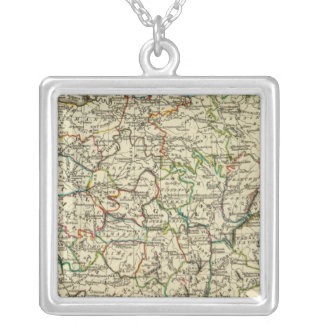 France with boundaries outlined silver plated necklace