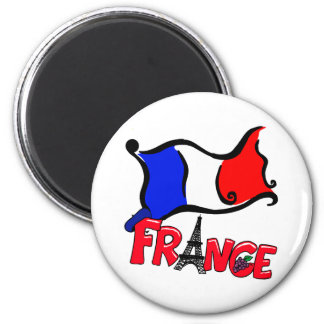 France with Flag Products 6 Cm Round Magnet