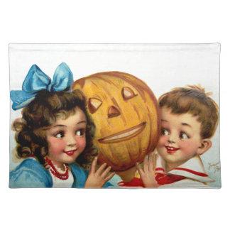 Frances Brundage Boy and Girl with Jack O Lantern Placemat